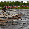 Traditional fishing at Kukkolankoski. Tornionjoki