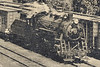 Enlargement of locomotive in Postcard: T. & N. O. Freight yards, Englehart, Ontario. Mailed July 15, 1952. Mostly boxcars, one steam locomotive.<br /> Back of card has message to Mrs. Della Bradley of Warkworth, Ontario.