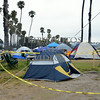 Camping out on the beach in Santa Barbara, California.