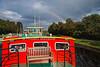 Rainbow, Ros Crana Barge, Caledonian Canal; Great Glen, Scottish Highlands, Scotland, United Kingdom, Europe