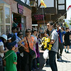 Visitors receive instructions from a tour guide in Solvang, California.