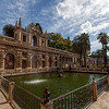 The water fountain and cistern in the Jardín del Estanque that makes up the original water source for the palace.