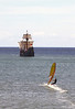 Santa Maria replica ship and windsurfer Funchal Madeira