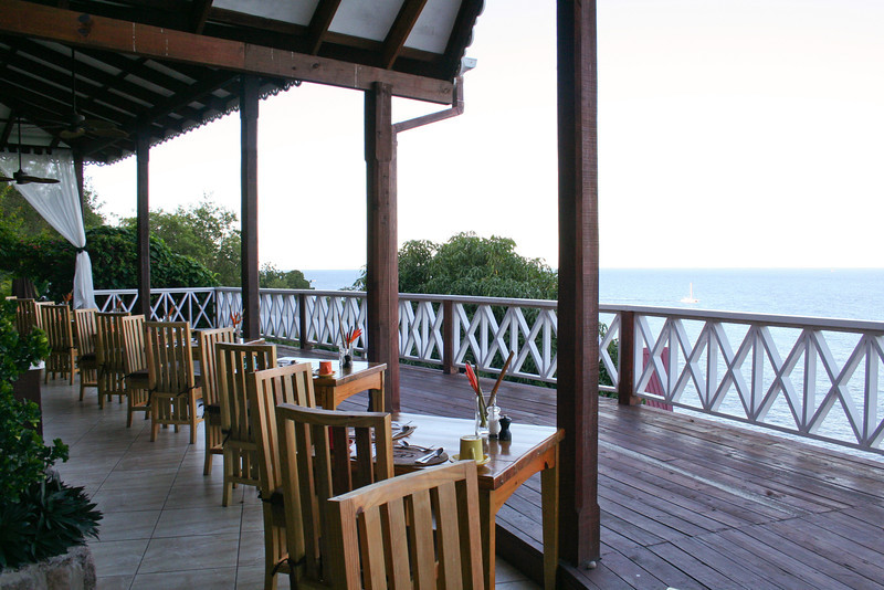 Oceanview seating at Ti Kaye Village Resort's Kai Manje Restaurant (A)