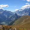 Looking towards Courmayeur, the Mont blanc tunnel and distant val Veni