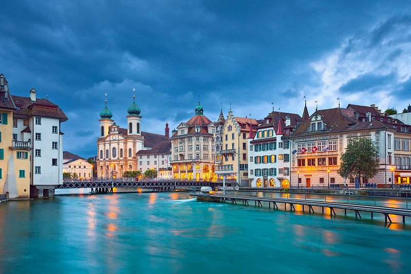Lucerne. Image of Lucerne, Switzerland during stormy evening.
