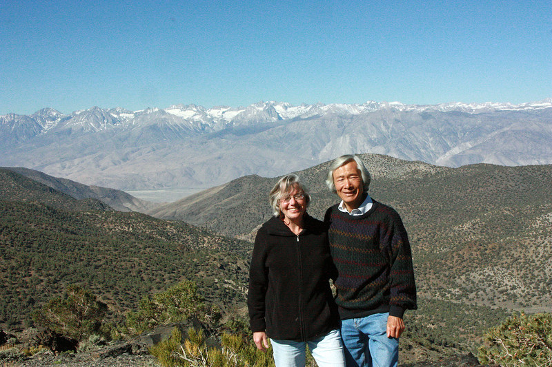 After coming over Tioga Pass we were in the Great Basin, and our first visit was to the Ancient Bristlecone Pine Forest in the White Mountains.  From the observation point on the way up you have a glorious view of the Sierra Nevada Palisades across the Owens Valley.