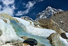 Glacial melt water contrasts with it's pure white surroundings. Changri (6027m elevation) peak in the background.