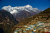 The delightful little village of Namche Bazaar with Kongde Ri peak in the background