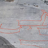 Rock carvings - warships? : painted over for easier observation