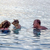 Doug, Angie, and Sadie playing in the ocean