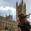 Lexie in front of the Parliament Building.  UK Vacation 2014-07-07