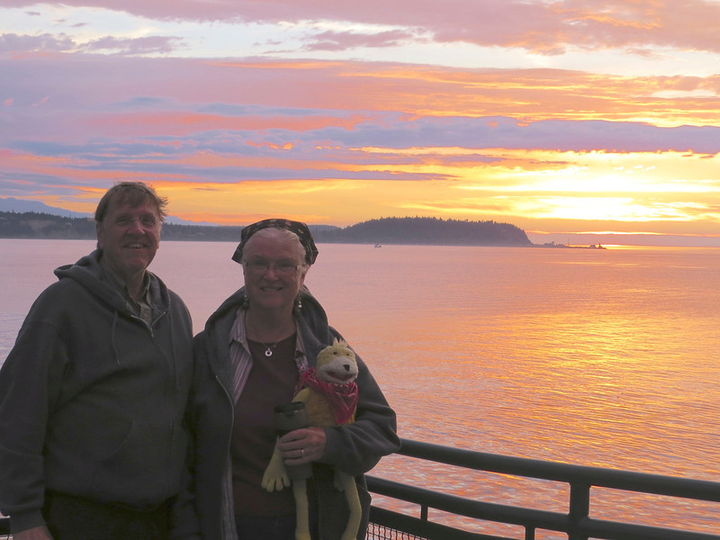 On the ferry from Coupeville to Port Townsend, lovely sunset. We slept on the street in Port Townsend. It rained all night and all the next day, so we didn't get to see much at Port Townsend.
