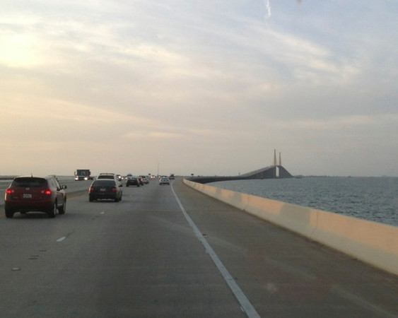 Feb. 27 - Near sunset, we crossed Sunshine Skyway in Tampa, which is the bridge/waterway across Tampa Bay.