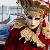 Woman with beautiful costume on venetian carnival 2014, Venice, Italy