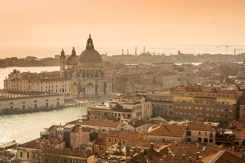 Aerial view on basilica di Santa Maria della Salute on sunset, Venice, Italy