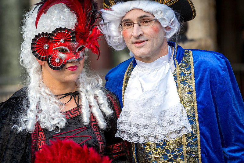 Couple in masks on Venetian carnival 2014, Venice, Italy