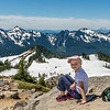 At Glacier Vista, with the Tatoosh Range and Mount Saint Helens in the background. Paradise, Mount Rainier National Park