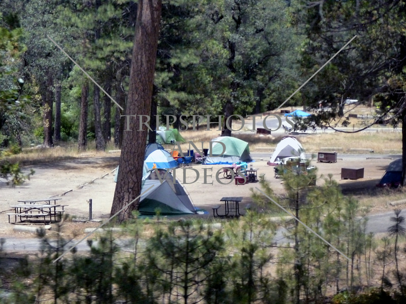 Tents and campers at Yosemite National Park in California.