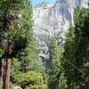 Distant view of the waterfall at Yosemite National Park in California.
