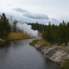 As the eruption winds down, we head down the boardwalk, but can still admire the Riverside Geyser from downstream on the Firehole River.
