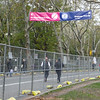 The security fences meant to keep the marathon runners organized are still in place.