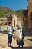Bargaining for linens at the Martyrium of St. Phillip at Hierapolis, Turkey, Eurasia.