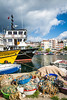 Fishing boats in the marina in the Black Sea port city of Sinop, Turkey.