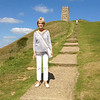 Mom in front of Glastonbury tor, which was awesome!