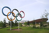 Velodrome and Olympic rings at Olympic Park Stratford London