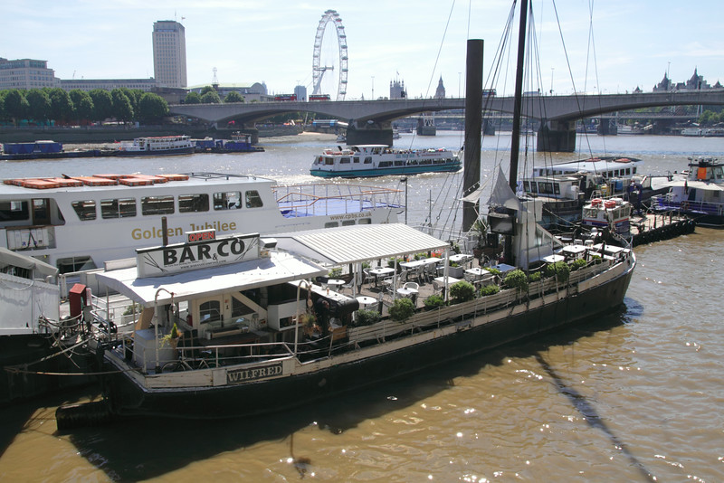 Wilfred restaurant boat moored off Victoria Embankment London