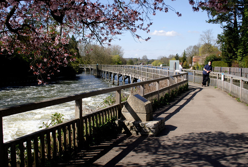 Footbridge by the weir at Henley on Thames Oxfordshire