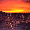 TI-4100 GPS receivers set up for surveying on the roof at sunset. Training at JPL?