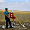 James Stowell and the Turkish flag during a 1989 GPS campaign survey in Turkey.