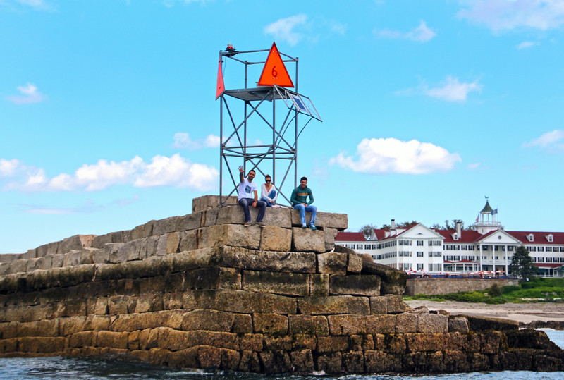 Kennebunk Maine, People on Rocky Pier