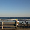 Kennebunkport Maine, Bicyclist on Bench, Ocean View