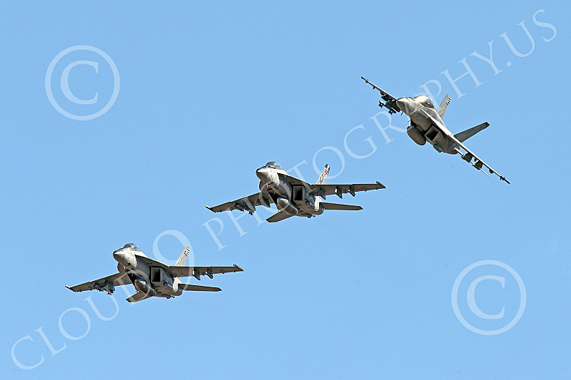 Boeing F-18F-USN 00278 Three flying Boeing F-18F Super Hornets USN VFA-41 BLACK ACES 1-2015 military airplane picture by Peter J Mancus