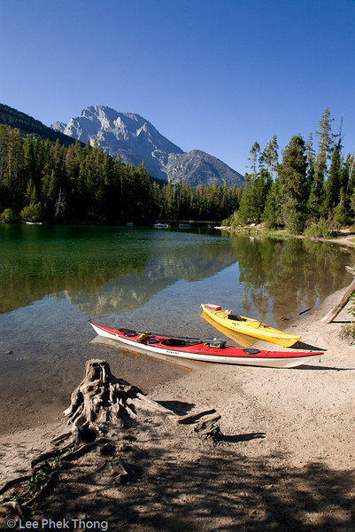 Kayaks at String lake, Grand Tetons National Park