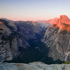 Panoramic view of the valley from Glacier Point. Yosemite valley, Yosemite National Park, California, USA.