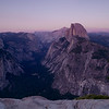 Panoramic view of the valley at dusk. Yosemite valley, Yosemite National Park, California, USA.