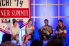 (l-r) Deric Gunshor of Aspen, U.S. Ski Team's Katie Ryan and Steven Nyman, and Vail/Beaver Creek's Dunan Horner.<br /> 2014 USSA Partner Summit <br /> General Summit Sessions at the Center of Excellence, Park City<br /> Photo: USSA