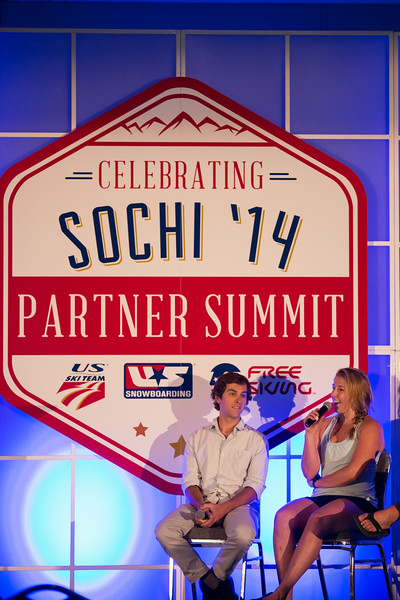 Panelists Deric Gunshor (left) of Aspen and U.S. Ski Team's Katie Ryan of Aspen at 2014 USSA Partner Summit <br /> General Summit Sessions at the Center of Excellence, Park City<br /> Photo: USSA