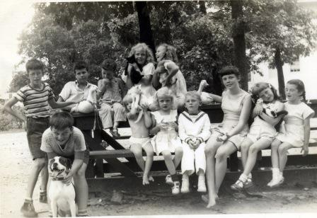 Children with animals at picnic table (02318)