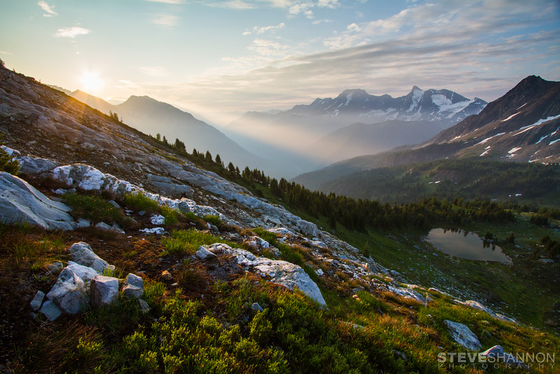 Sunrise over the Jumbo valley in the Purcell mountains.