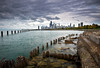 CHI 036                      The view from the Fullerton Avenue sea wall as an ominous October sky moves over the Chicago skyline.