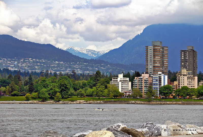 Waterfront park & Mountains