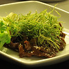 stir fried venison with crisp leek