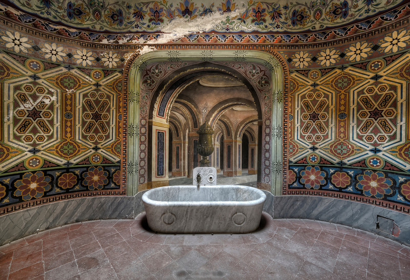 Moorish Bath - This massive castle lies on top of a hill overlooking the countryside. This small bathroom is one of the many moorish decorated rooms inside.