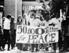 Students and faculty participating in a peace march, USC, 1970