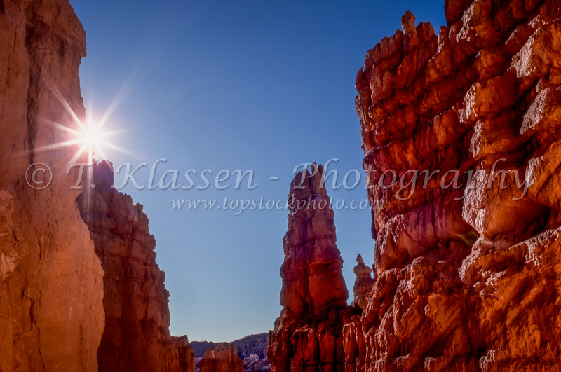 A sunburst in the rock formtions of the Queens Garden in Bryce Canyon National Park, Utah, USA.